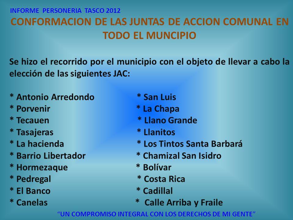 CONFORMACION DE LAS JUNTAS DE ACCION COMUNAL EN TODO EL MUNCIPIO