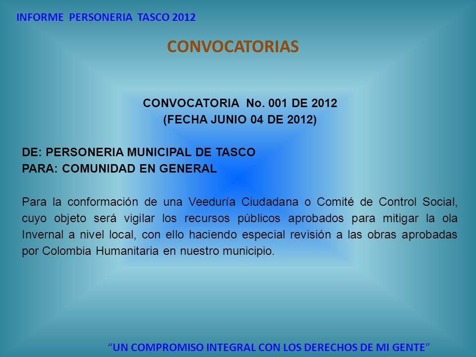 CONVOCATORIAS INFORME PERSONERIA TASCO 2012