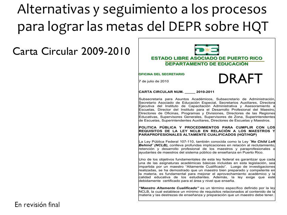 Alternativas y seguimiento a los procesos para lograr las metas del DEPR sobre HQT