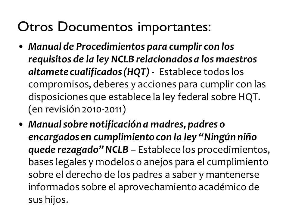 Otros Documentos importantes: