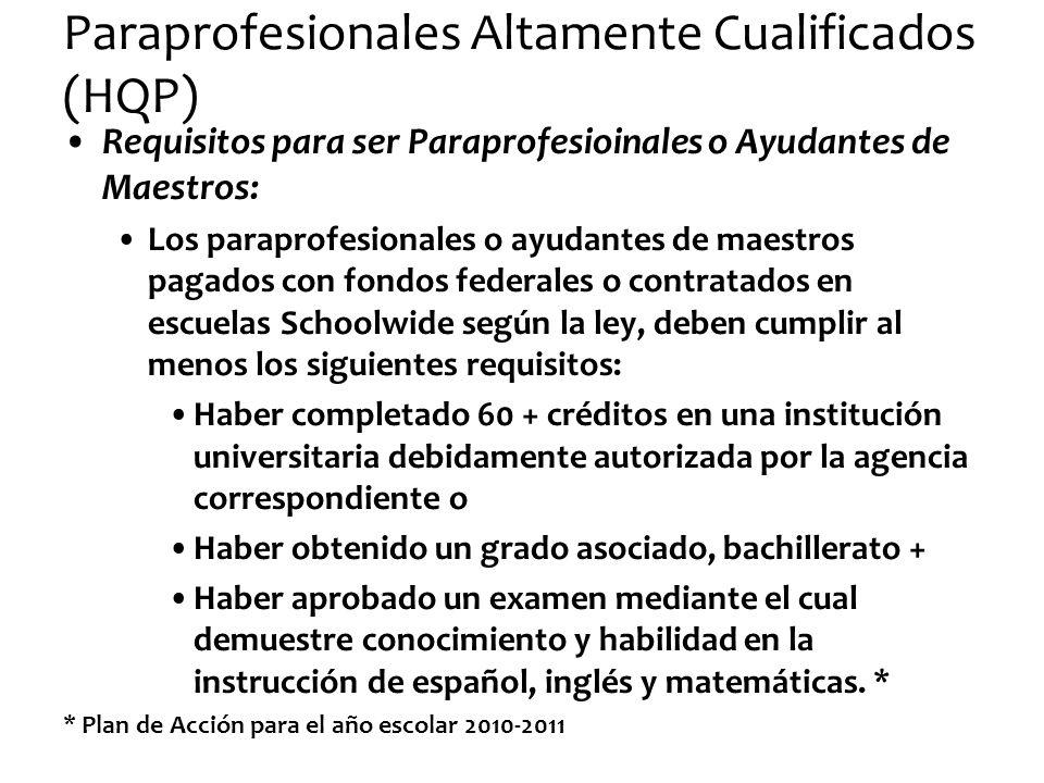 Paraprofesionales Altamente Cualificados (HQP)