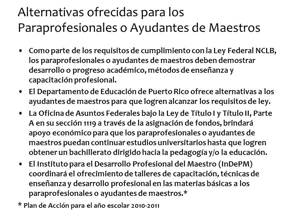Alternativas ofrecidas para los Paraprofesionales o Ayudantes de Maestros