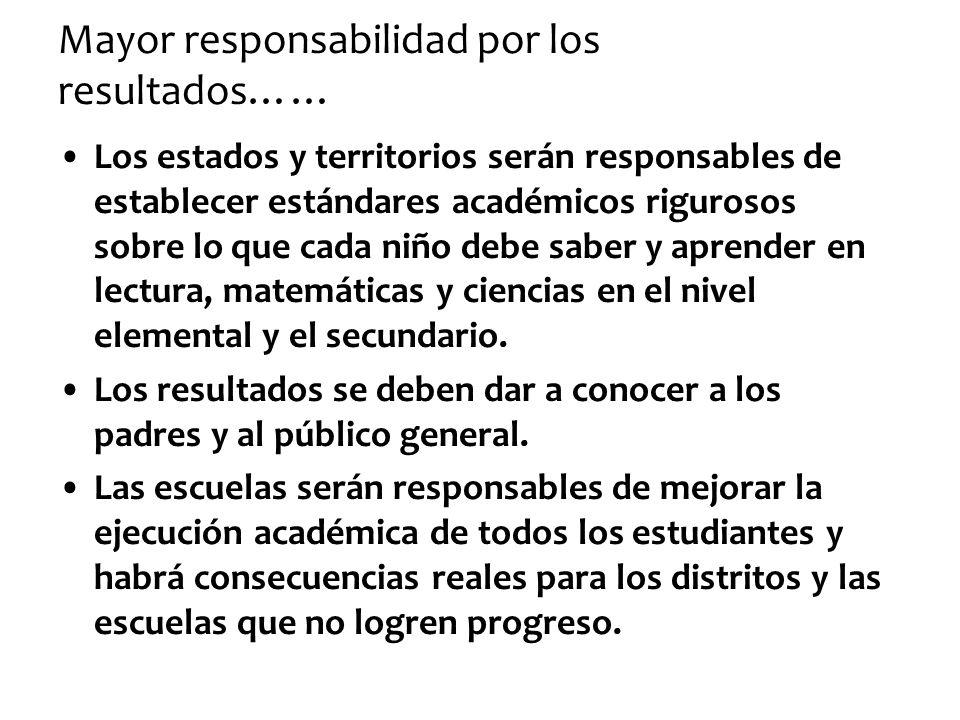 Mayor responsabilidad por los resultados……