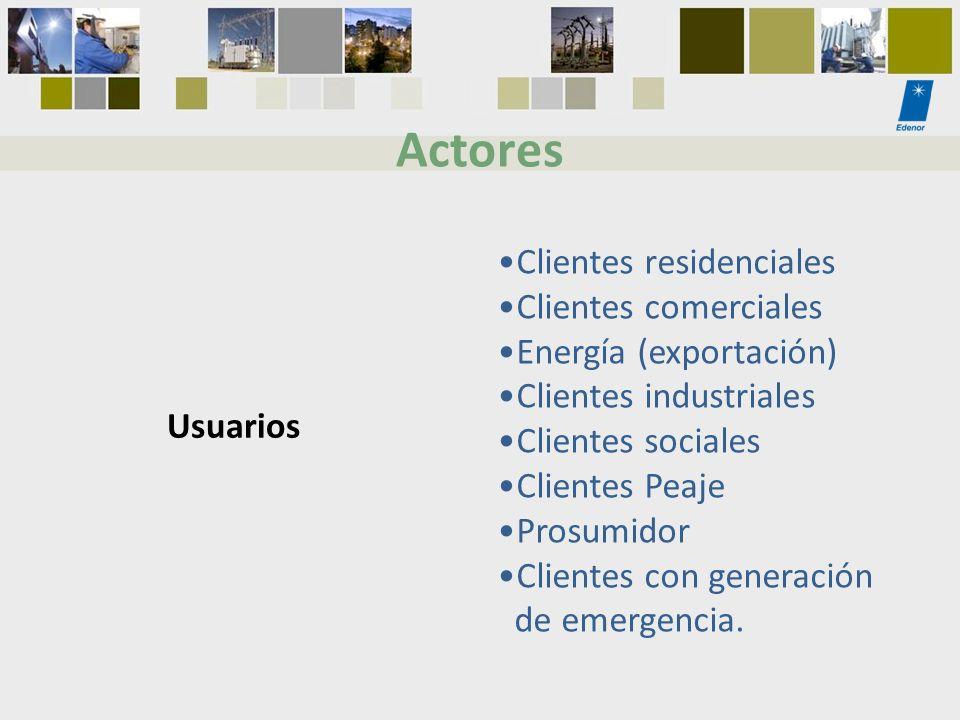 Actores Clientes residenciales Clientes comerciales