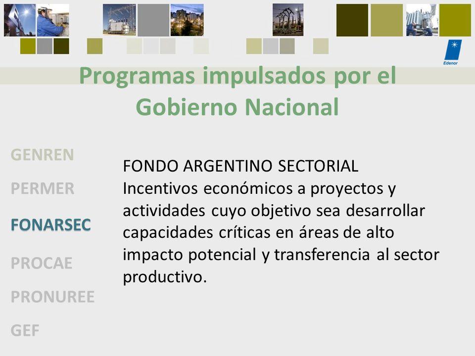 Programas impulsados por el Gobierno Nacional