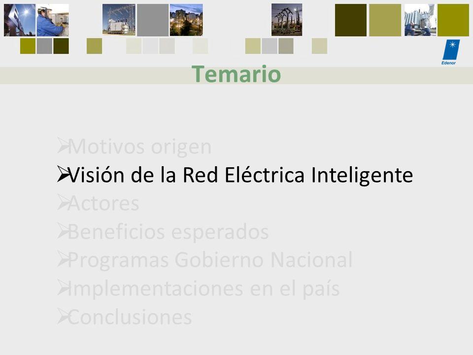 Temario Motivos origen Visión de la Red Eléctrica Inteligente Actores