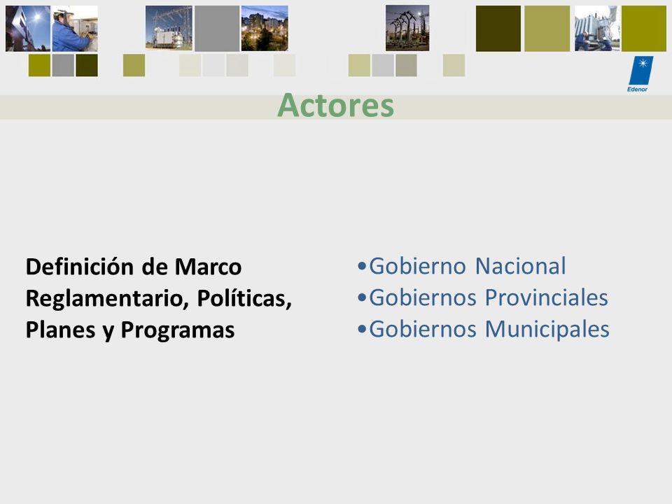 Actores Definición de Marco Reglamentario, Políticas,