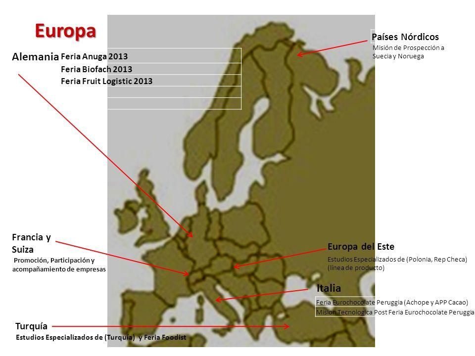 Europa Alemania Italia Países Nórdicos Francia y Suiza Turquía