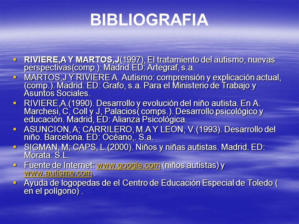 BIBLIOGRAFIARIVIERE,A Y MARTOS,J(1997), El tratamiento del autismo, nuevas perspectivas(comp.). Madrid.ED: Artegraf, s.a.