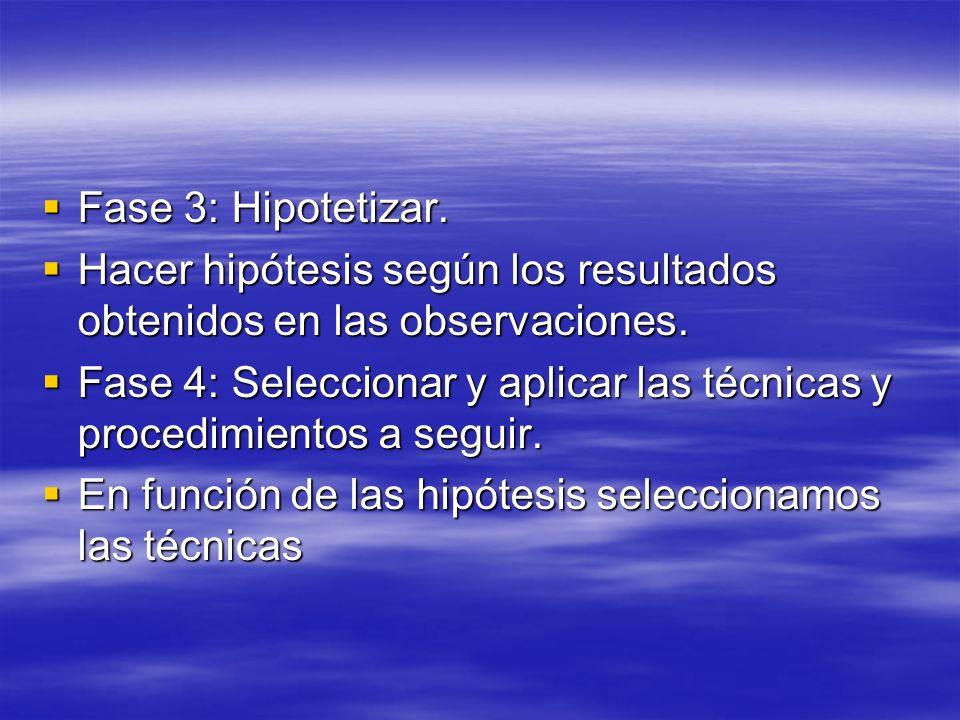 Fase 3: Hipotetizar.Hacer hipótesis según los resultados obtenidos en las observaciones.