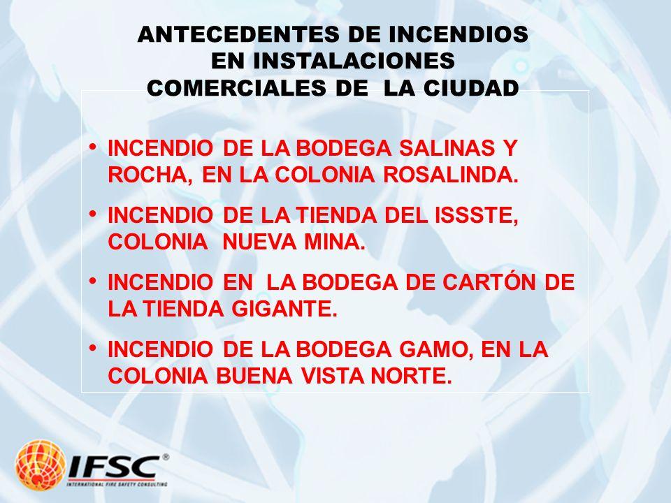 ANTECEDENTES DE INCENDIOS EN INSTALACIONES COMERCIALES DE LA CIUDAD
