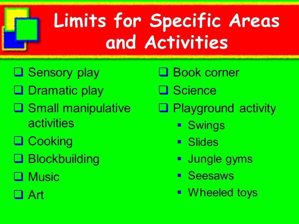 Limits for Specific Areas and Activities