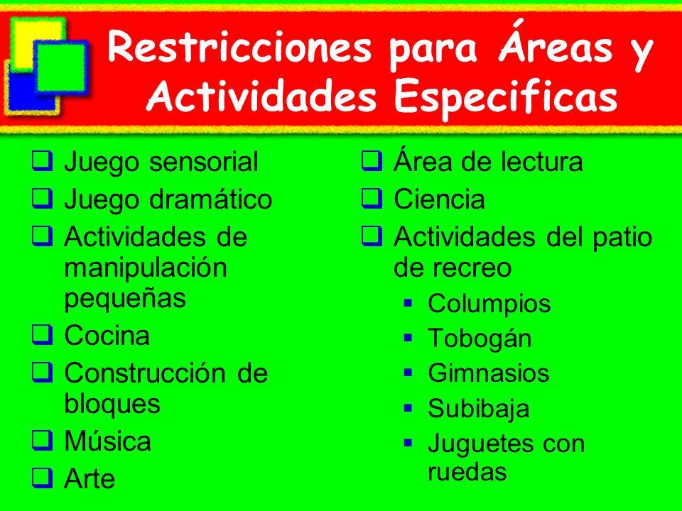 Restricciones para Áreas y Actividades Especificas