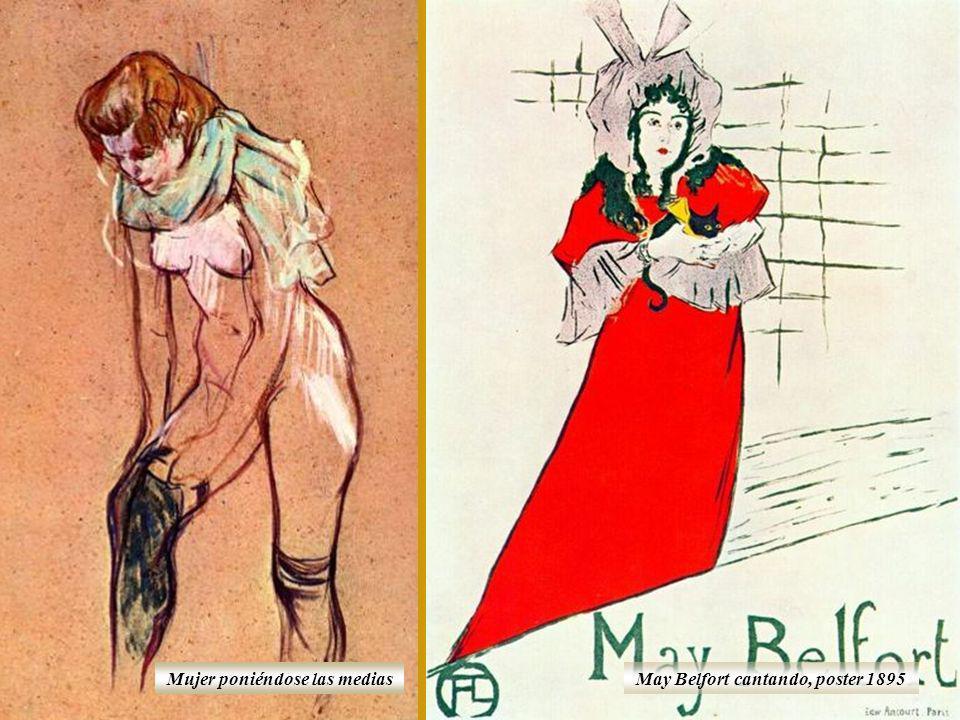 Mujer poniéndose las medias May Belfort cantando, poster 1895