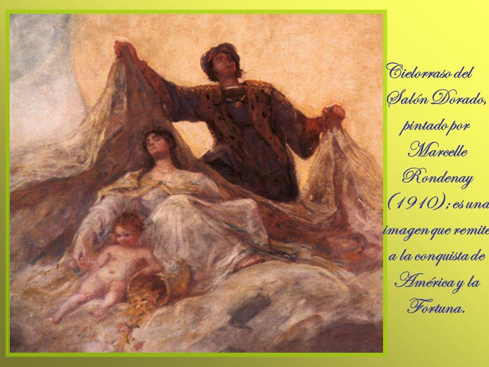 Cielorraso del Salón Dorado, pintado por Marcelle Rondenay (1910); es una imagen que remite a la conquista de América y la Fortuna.