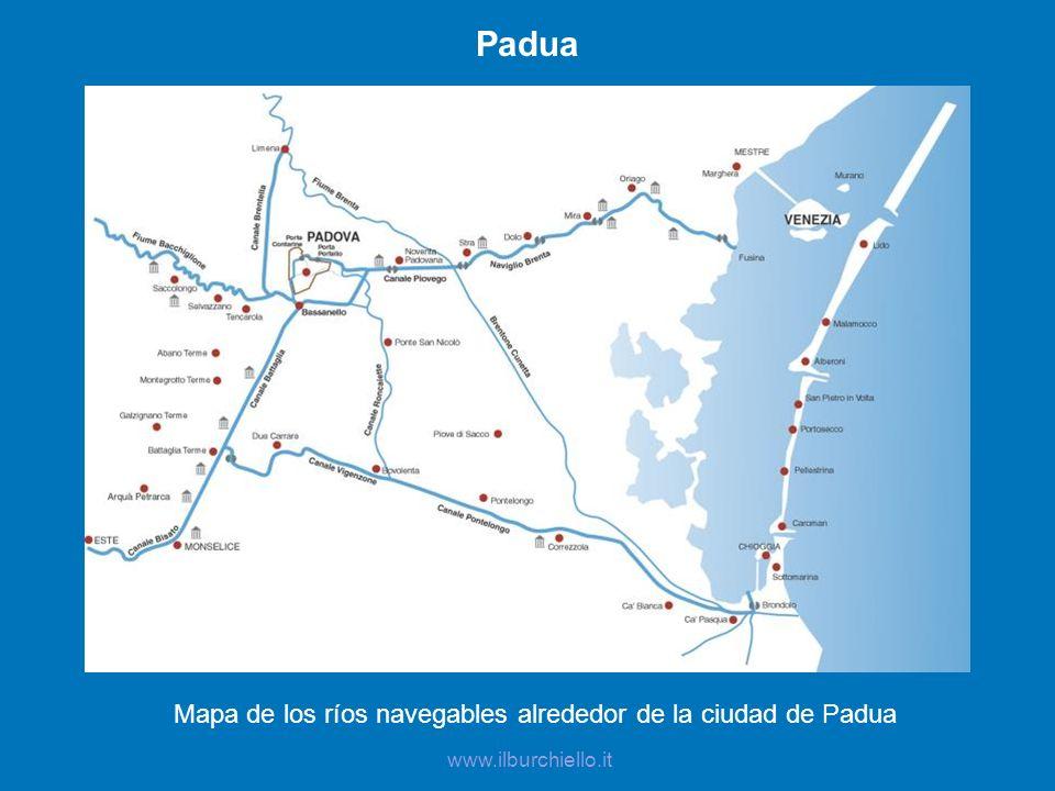 Mapa de los ríos navegables alrededor de la ciudad de Padua