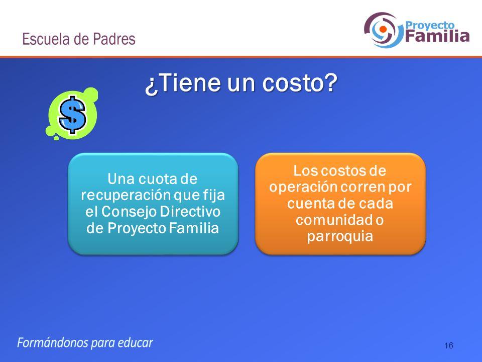 ¿Tiene un costo Una cuota de recuperación que fija el Consejo Directivo de Proyecto Familia.