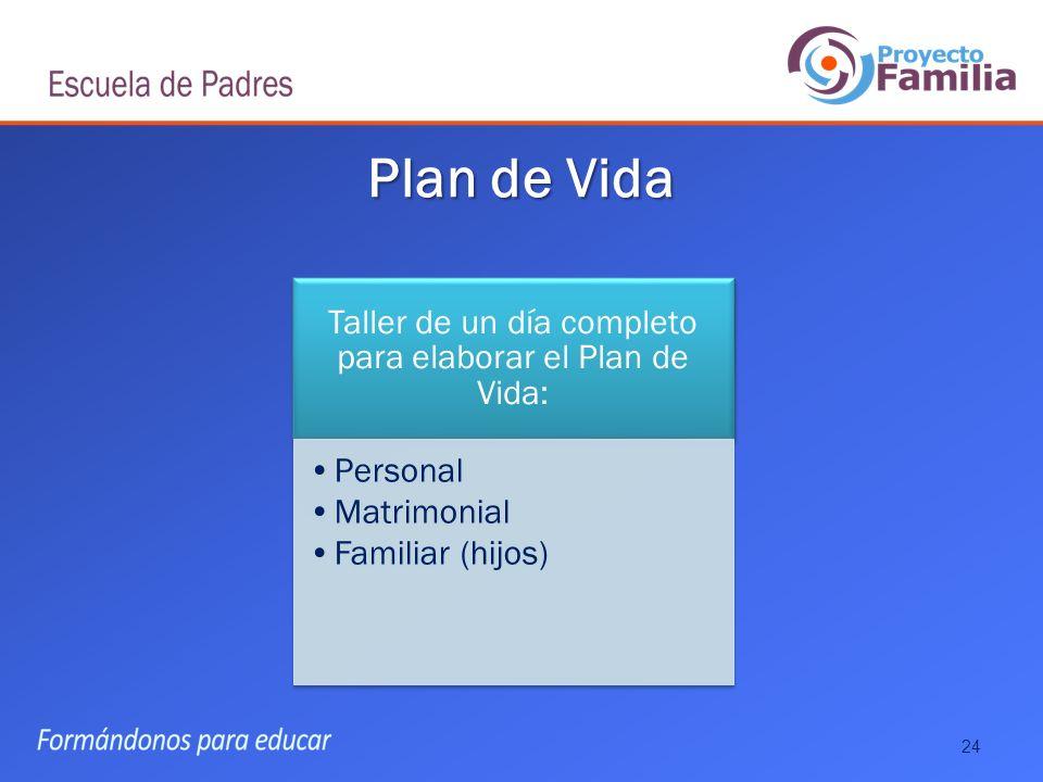 Taller de un día completo para elaborar el Plan de Vida: