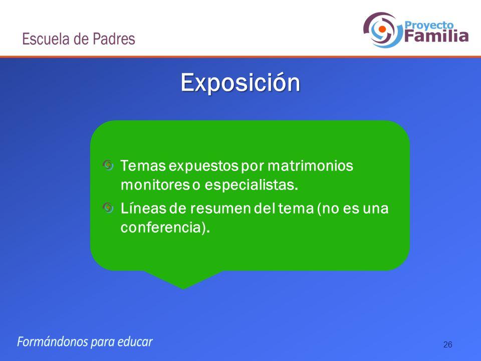 Exposición Temas expuestos por matrimonios monitores o especialistas.