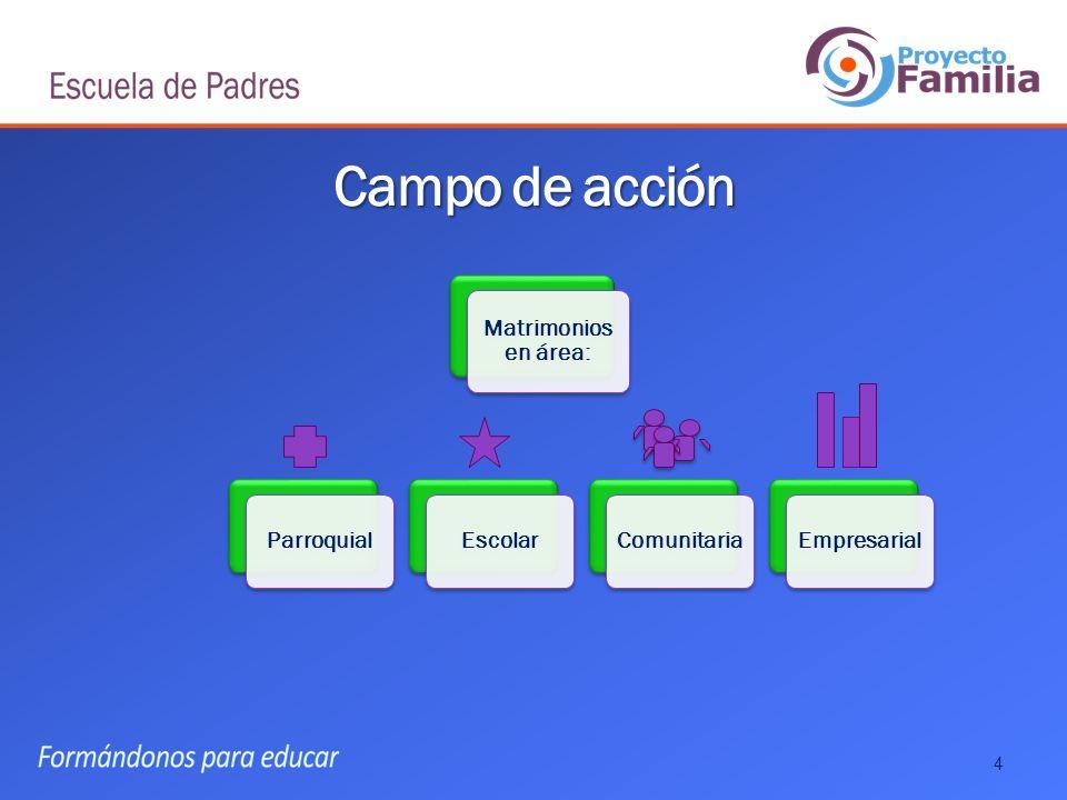 Campo de acción Matrimonios en área: Parroquial Escolar Comunitaria