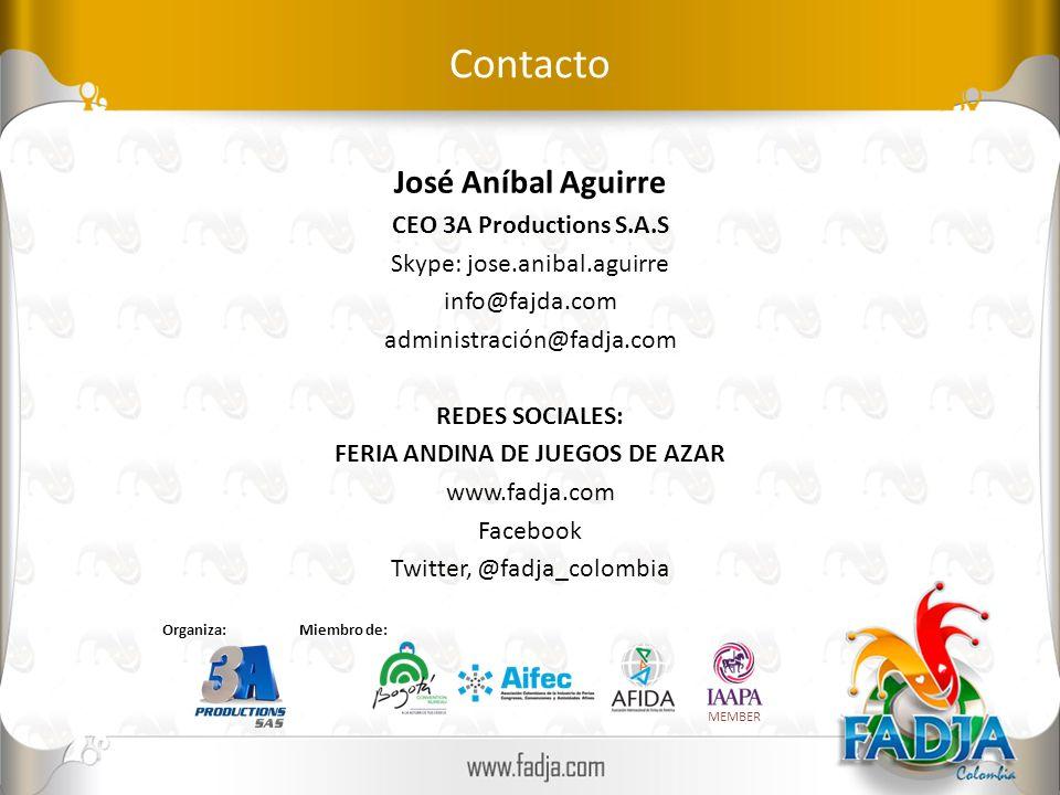 Contacto José Aníbal Aguirre CEO 3A Productions S.A.S