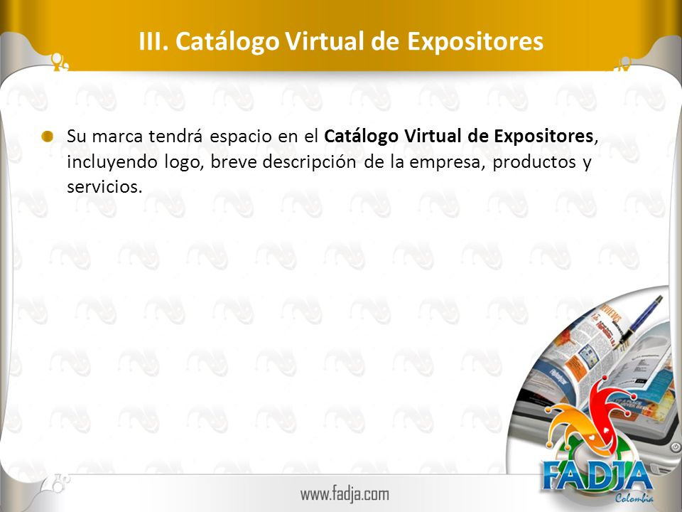 III. Catálogo Virtual de Expositores