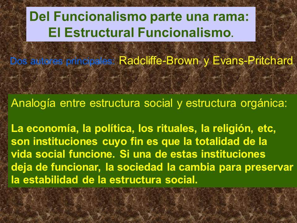 Del Funcionalismo parte una rama: El Estructural Funcionalismo.
