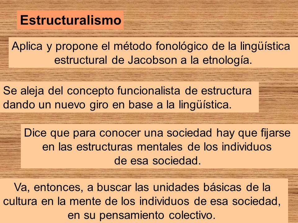 Estructuralismo Aplica y propone el método fonológico de la lingüística. estructural de Jacobson a la etnología.