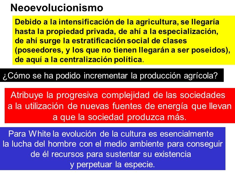 Neoevolucionismo Atribuye la progresiva complejidad de las sociedades