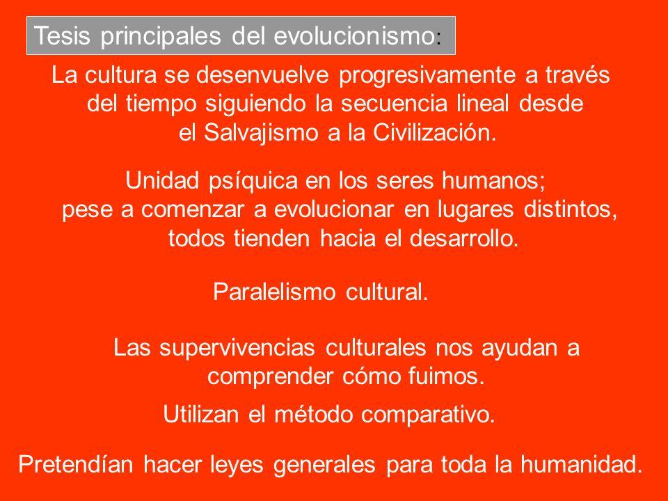 Tesis principales del evolucionismo: