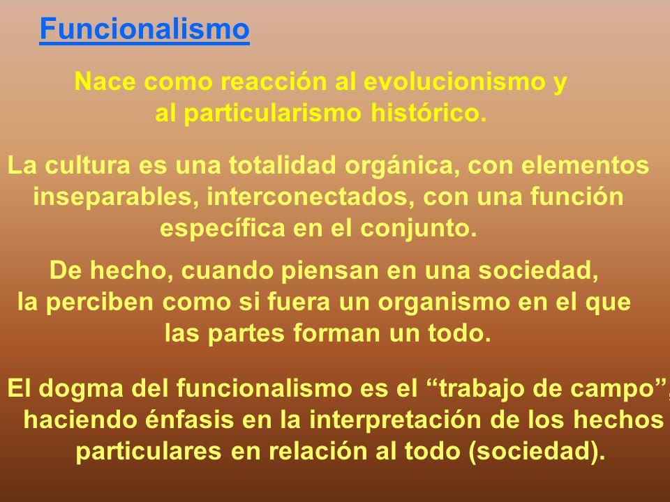 Funcionalismo Nace como reacción al evolucionismo y