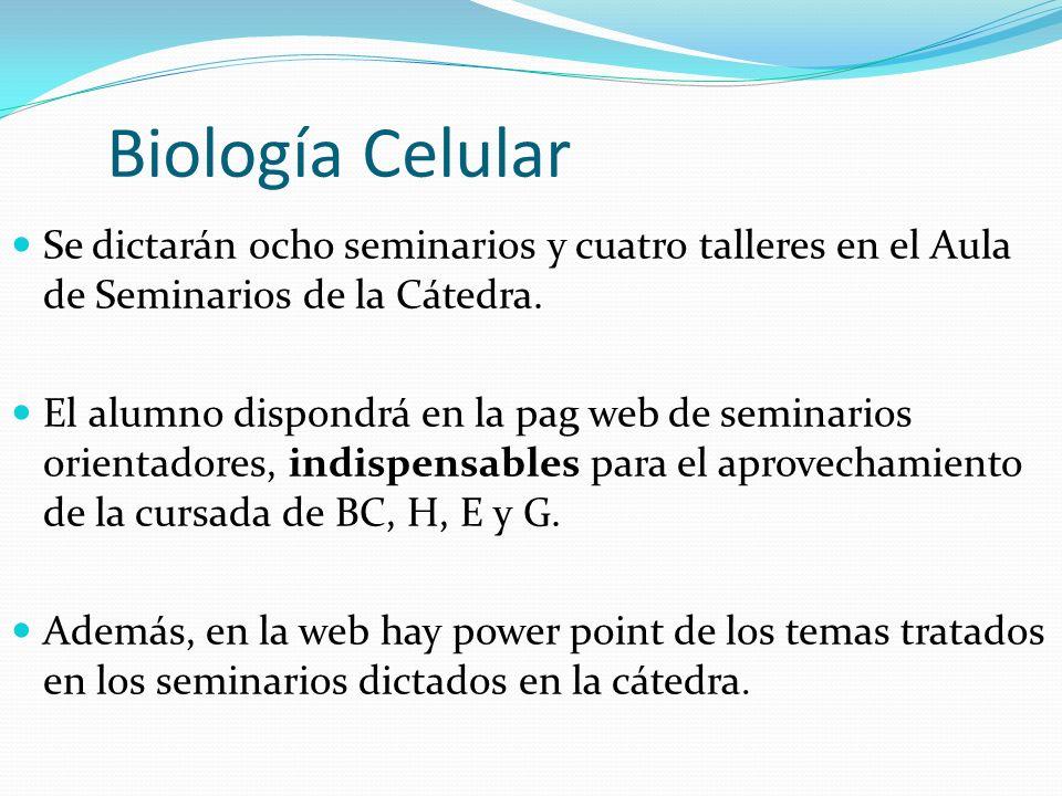 Biología Celular Se dictarán ocho seminarios y cuatro talleres en el Aula de Seminarios de la Cátedra.