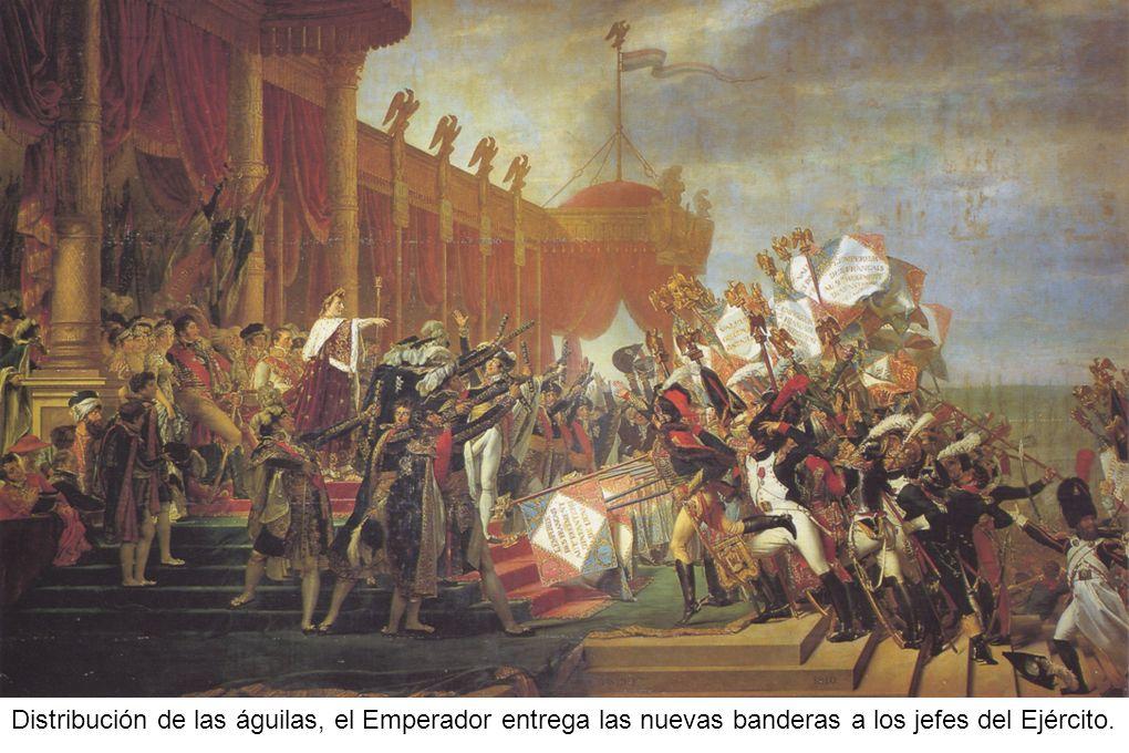Distribución de las águilas, el Emperador entrega las nuevas banderas a los jefes del Ejército.