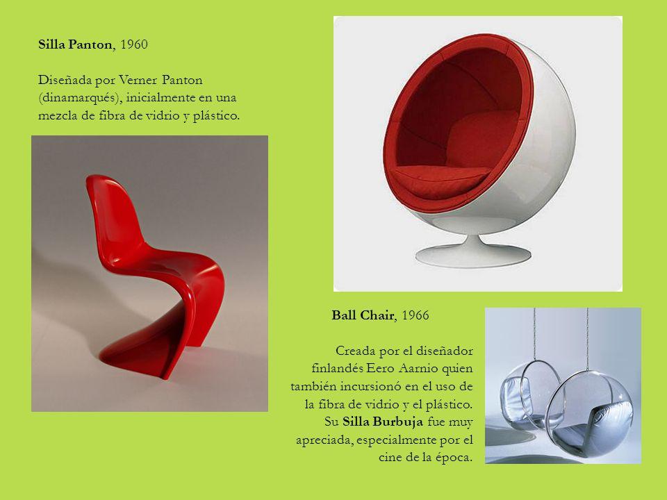 Silla Panton, 1960 Diseñada por Verner Panton (dinamarqués), inicialmente en una mezcla de fibra de vidrio y plástico.