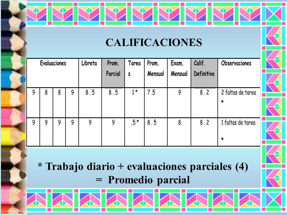 * Trabajo diario + evaluaciones parciales (4) = Promedio parcial