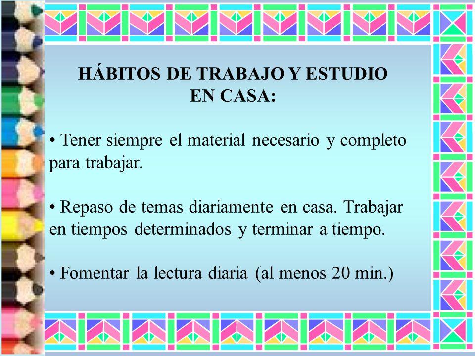 HÁBITOS DE TRABAJO Y ESTUDIO