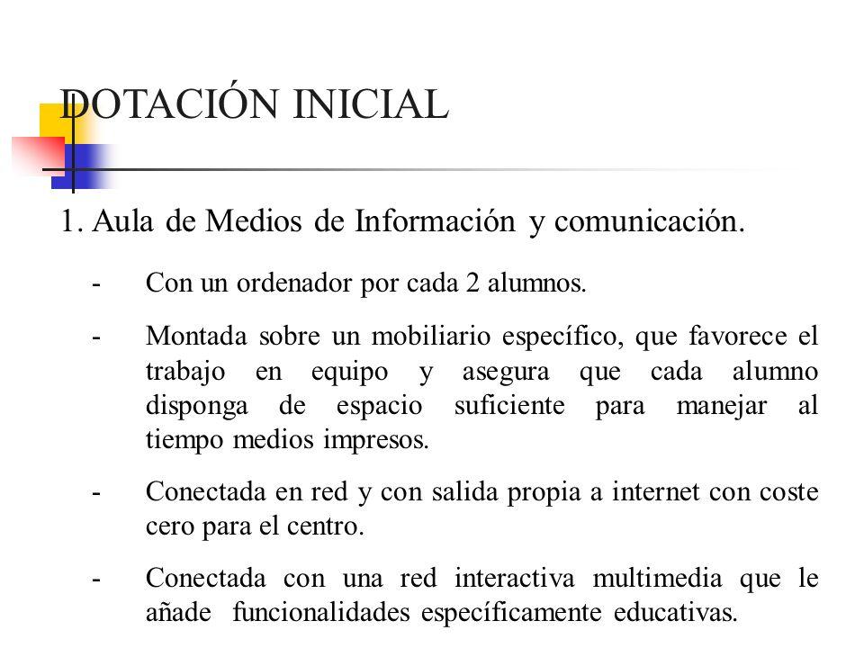 DOTACIÓN INICIAL Aula de Medios de Información y comunicación.