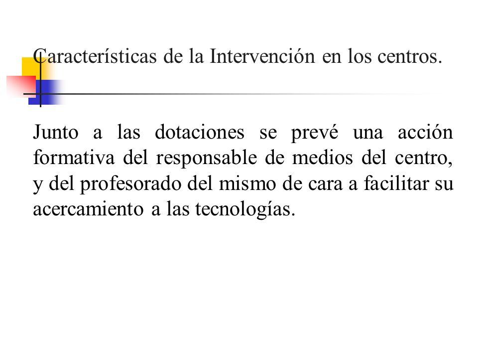 Características de la Intervención en los centros.