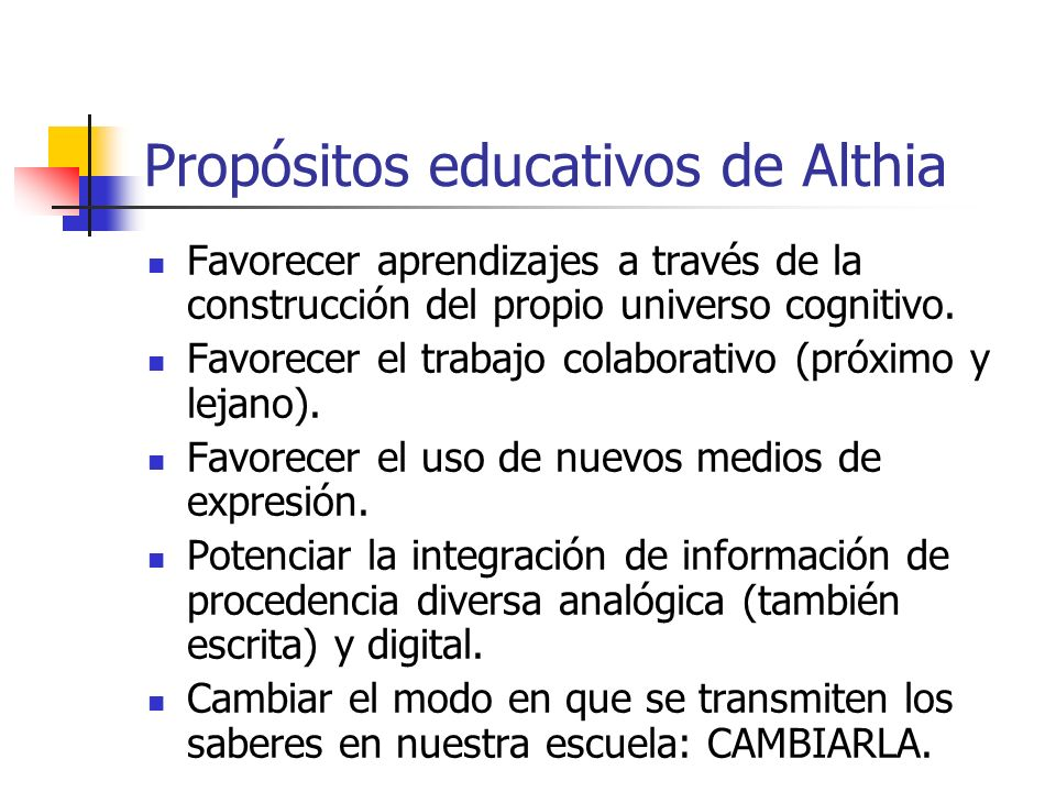 Propósitos educativos de Althia
