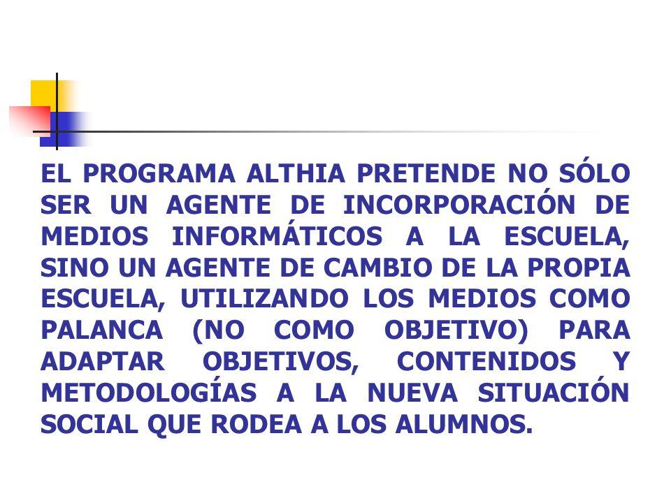 EL PROGRAMA ALTHIA PRETENDE NO SÓLO SER UN AGENTE DE INCORPORACIÓN DE MEDIOS INFORMÁTICOS A LA ESCUELA, SINO UN AGENTE DE CAMBIO DE LA PROPIA ESCUELA, UTILIZANDO LOS MEDIOS COMO PALANCA (NO COMO OBJETIVO) PARA ADAPTAR OBJETIVOS, CONTENIDOS Y METODOLOGÍAS A LA NUEVA SITUACIÓN SOCIAL QUE RODEA A LOS ALUMNOS.