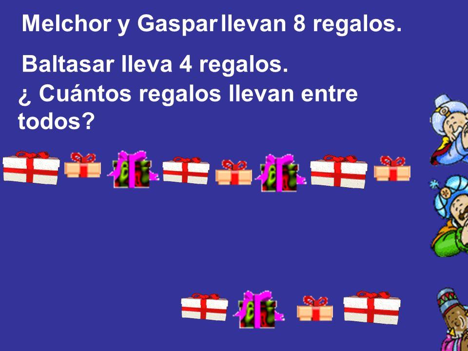 Melchor y Gaspar llevan 8 regalos. Baltasar lleva 4 regalos. ¿ Cuántos regalos llevan entre todos