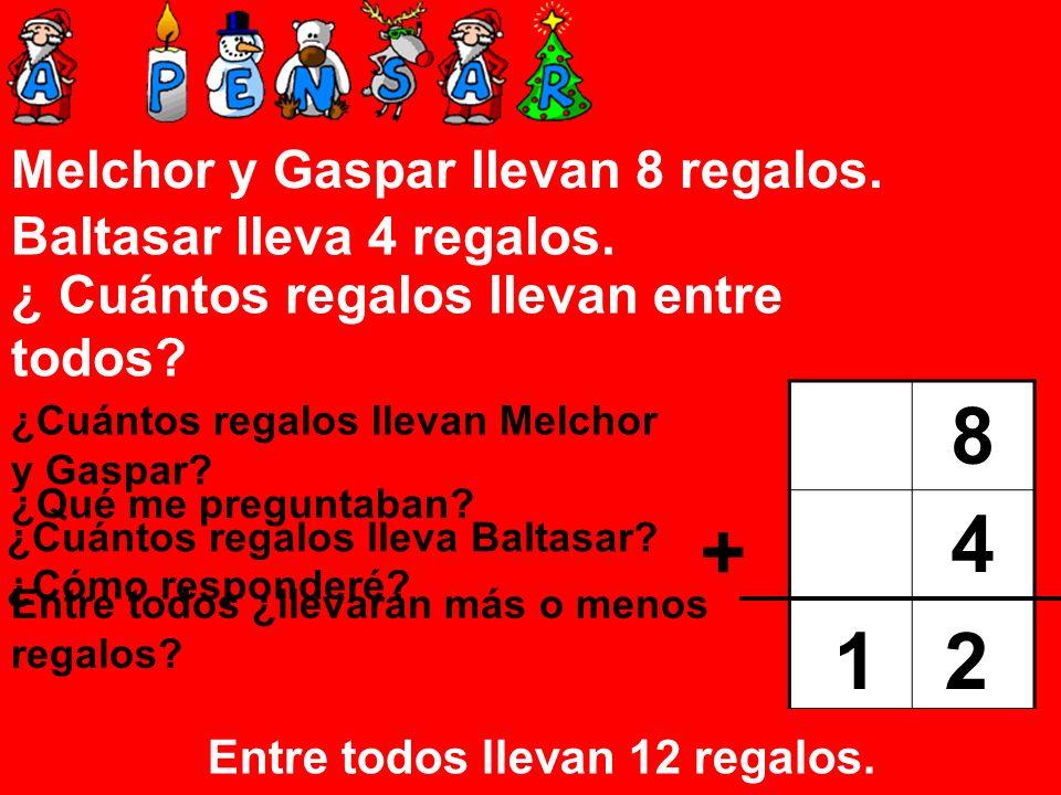8 4 + 1 2 Melchor y Gaspar llevan 8 regalos. Baltasar lleva 4 regalos.