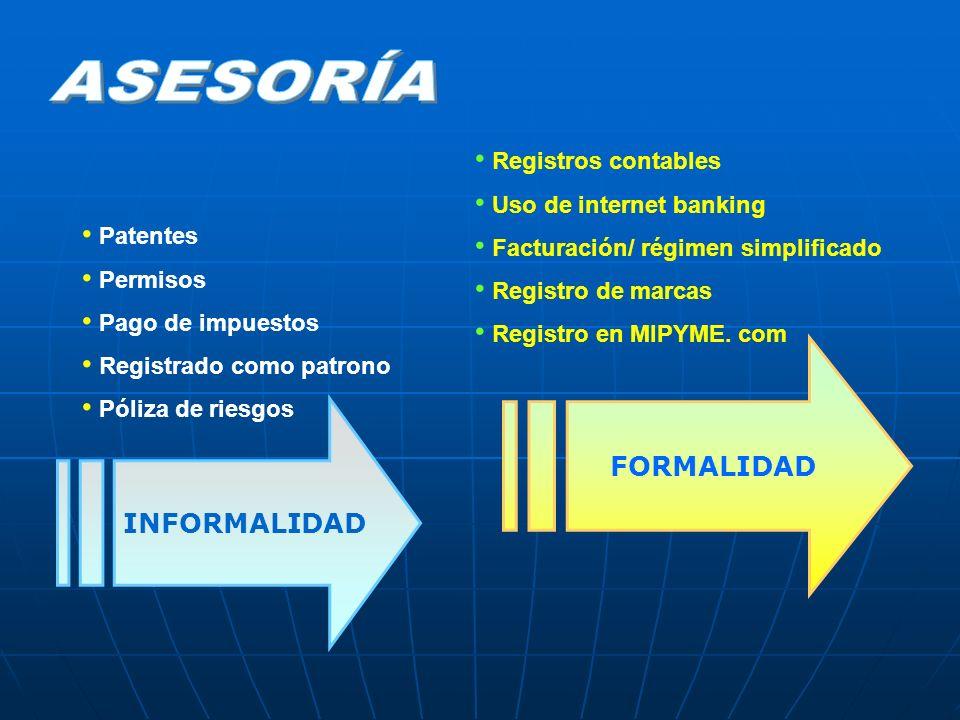 ASESORÍA FORMALIDAD INFORMALIDAD Registros contables
