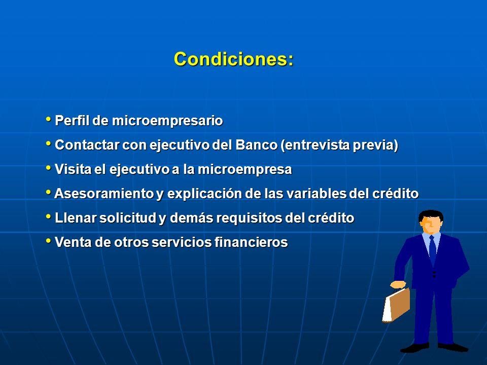 Condiciones: Perfil de microempresario