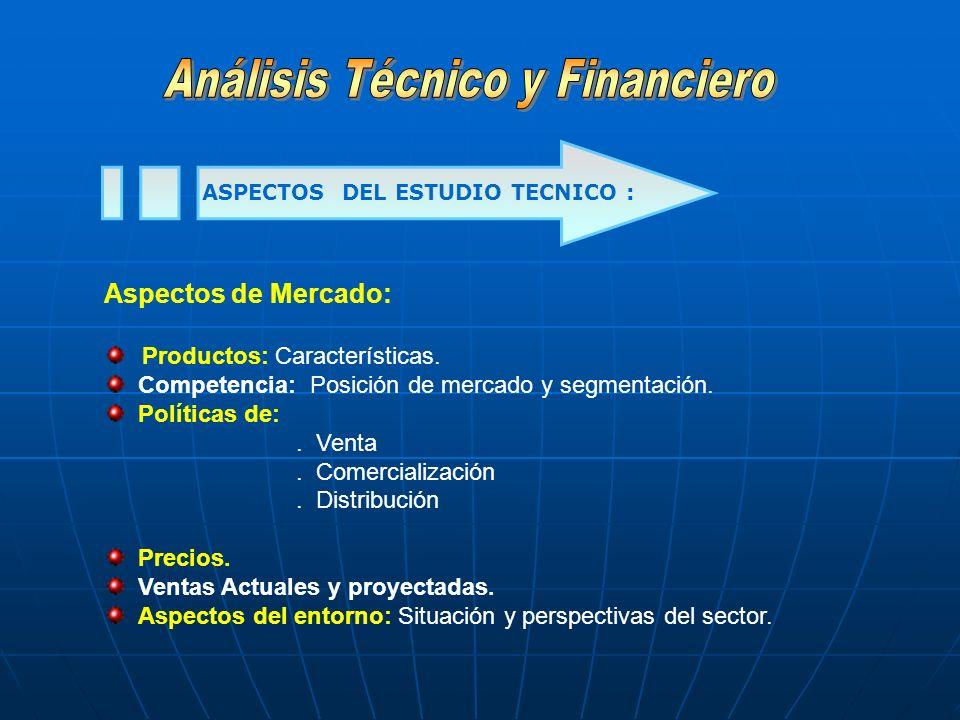ASPECTOS DEL ESTUDIO TECNICO :