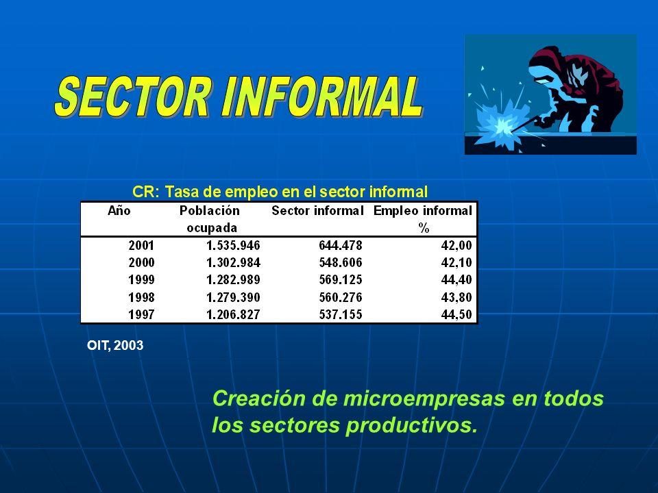 SECTOR INFORMAL OIT, 2003 Creación de microempresas en todos los sectores productivos.
