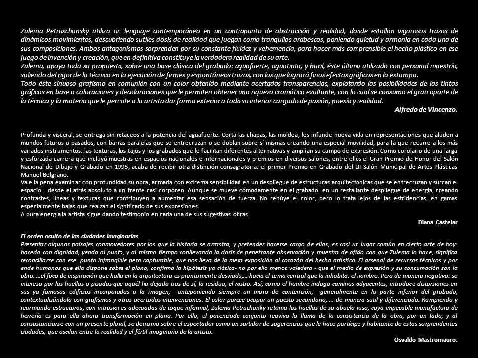 Zulema Petruschansky utiliza un lenguaje contemporáneo en un contrapunto de abstracción y realidad, donde estallan vigorosos trazos de dinámicos movimientos, descubriendo sutiles dosis de realidad que juegan como tranquilos arabescos, poniendo quietud y armonía en cada una de sus composiciones. Ambos antagonismos sorprenden por su constante fluidez y vehemencia, para hacer más comprensible el hecho plástico en ese juego de invención y creación, que en definitiva constituye la verdadera realidad de su arte.