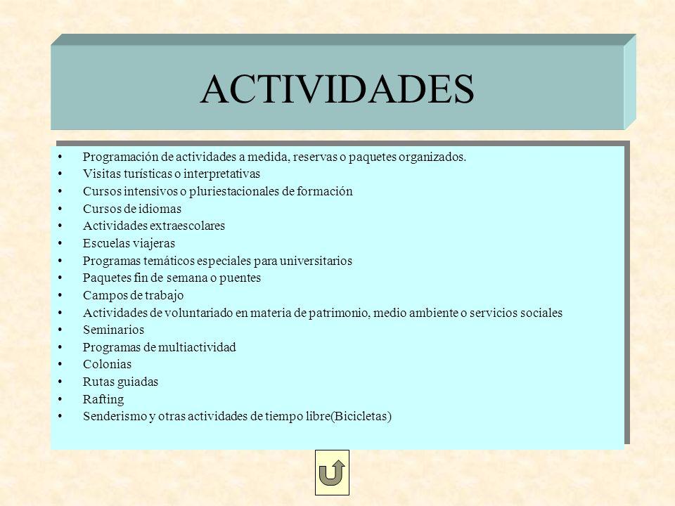 ACTIVIDADES Programación de actividades a medida, reservas o paquetes organizados. Visitas turísticas o interpretativas.