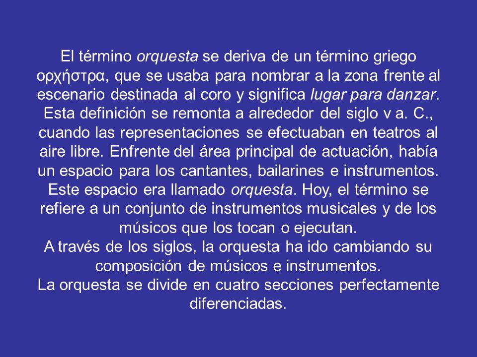 La orquesta se divide en cuatro secciones perfectamente diferenciadas.
