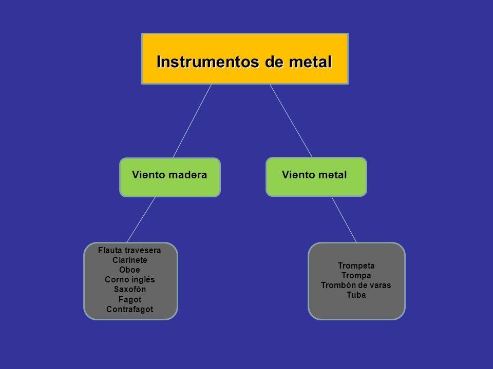 Instrumentos de metal Viento madera Viento metal Flauta travesera